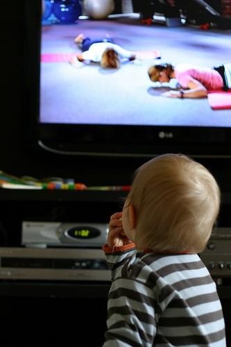 Kid toddler watching tv