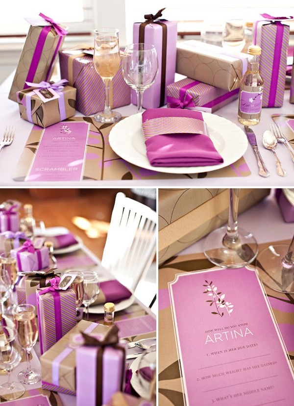Unique girls baby shower ideas - Life is a Gift Purple Baby Shower Theme