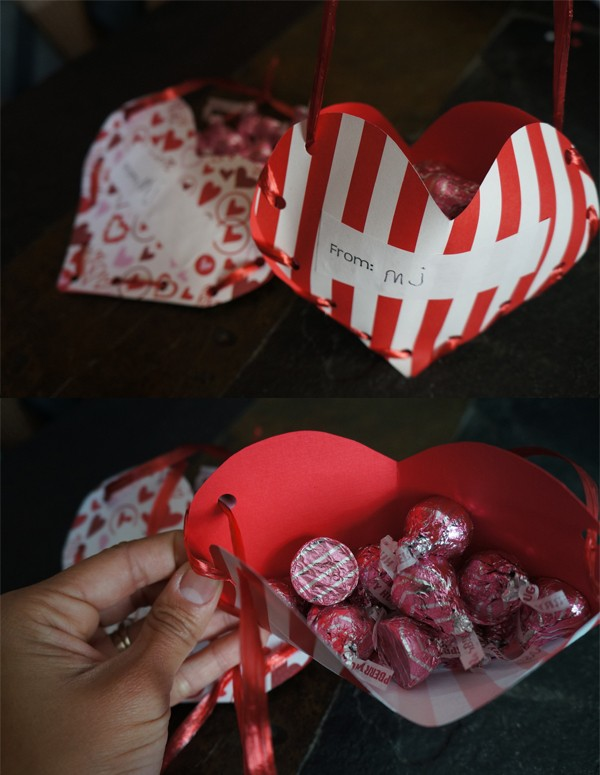Valentine's Day treat holders made with paper