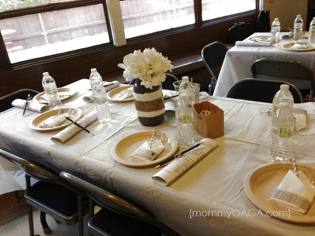 Newspaper Baby shower table