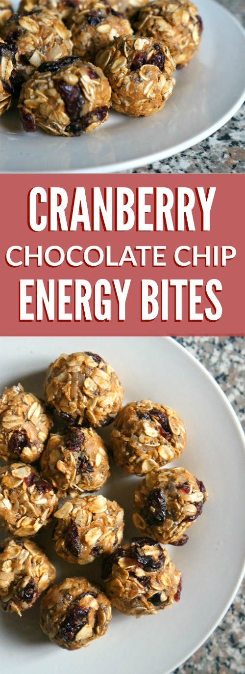 This protein packed cranberry chocolate chip energy bites recipe is super easy to make, and so delicious!