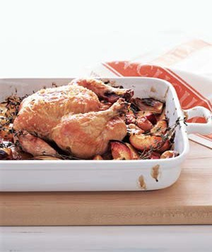 Roasted chicken with balsamic peaches