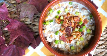 Creamy potato and corn chowder soup with bacon made in the slow cooker