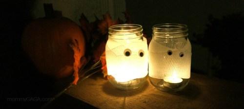 Mummy mason jar candles at night