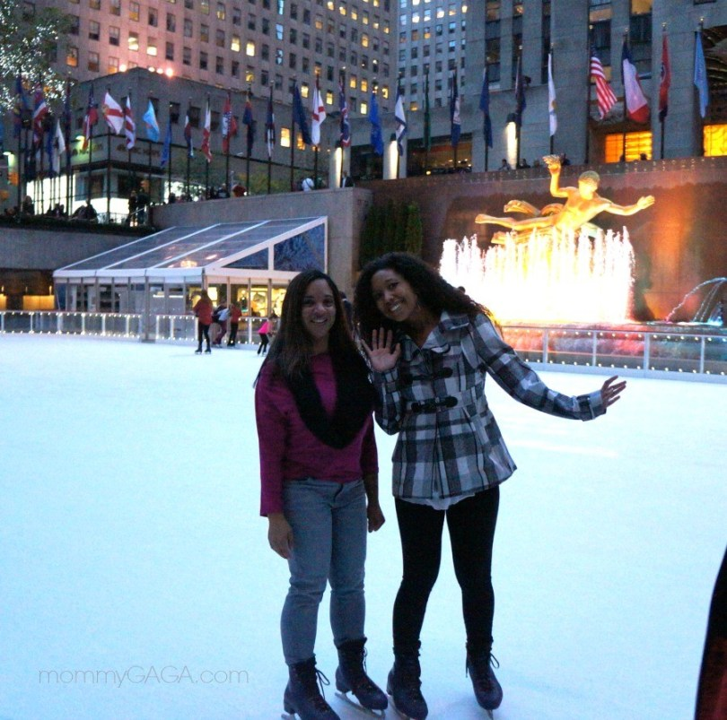 Caryn Bailey, Deanna Underwood, ice skating at Rockefeller Center ice rink, NYC