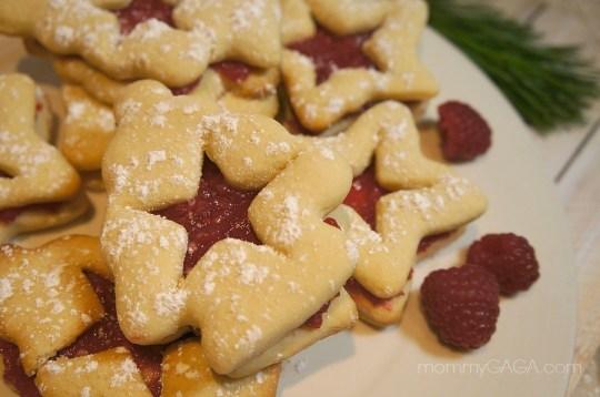 Christmas tree raspberry sugar cookies