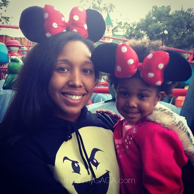 Mom and daughter with Minnie Mouse ears at Disneyland