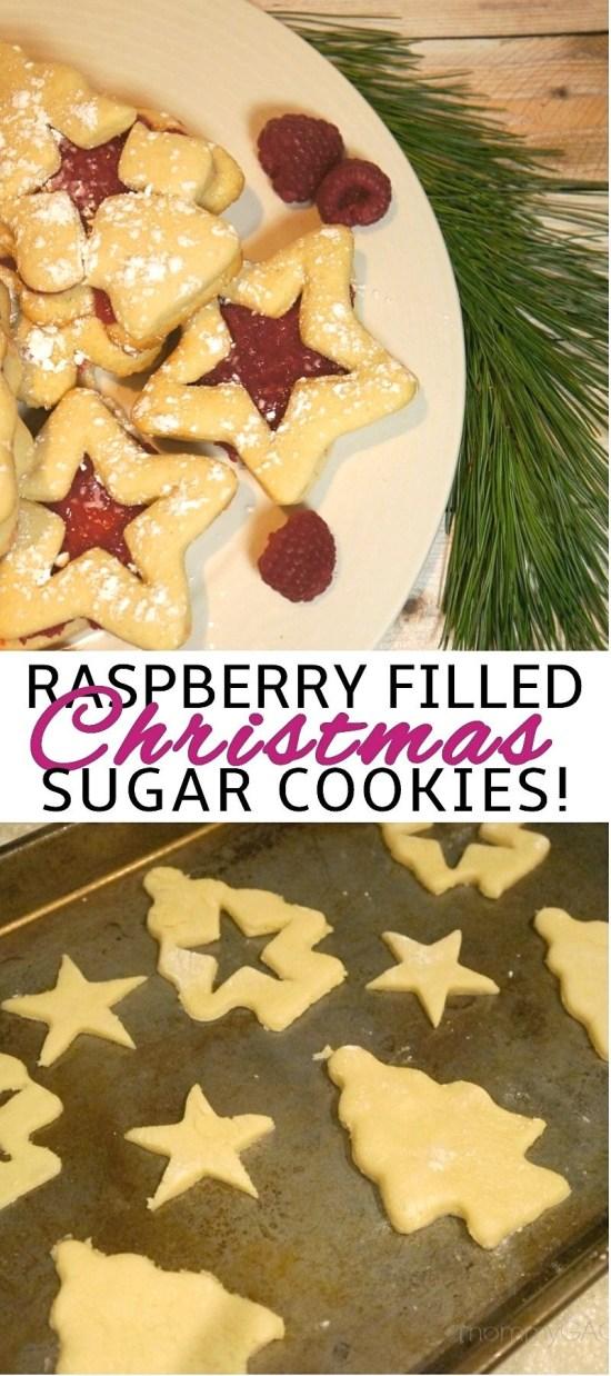Holiday Raspberry Filled Christmas Tree Sugar Cookies - raspberry filled cookies recipe | raspberry jam cookies | raspberry Christmas cookies | Homemade Holiday Treats | honeyandlime.co