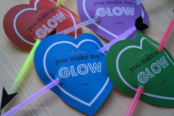 Cupid's Bow Glow Stick Valentines for Kids