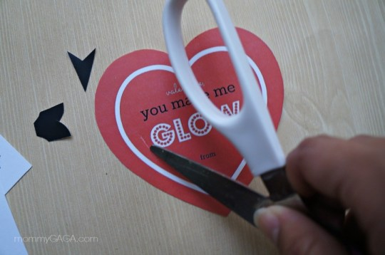 Cut slits into Paper Valentine's Day Heart Craft