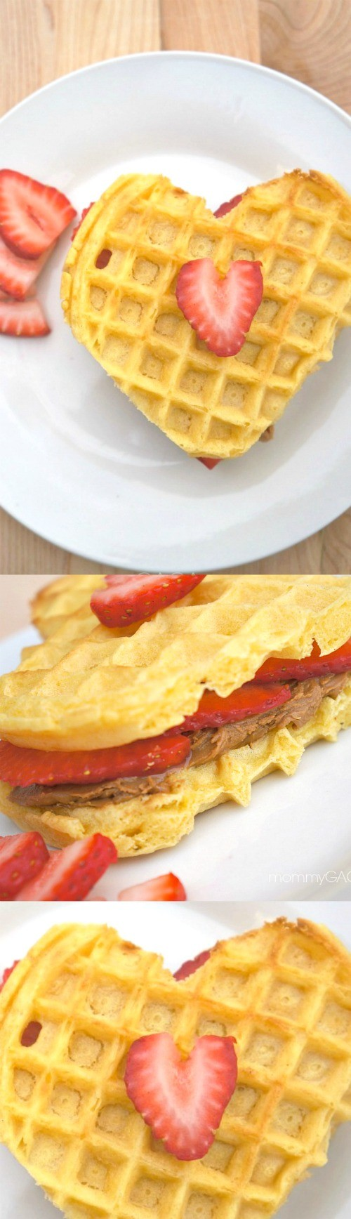 Easy Valentine's Day Breakfast: Strawberry Cookie Butter Heart Waffles - these are so cute and taste amazing!