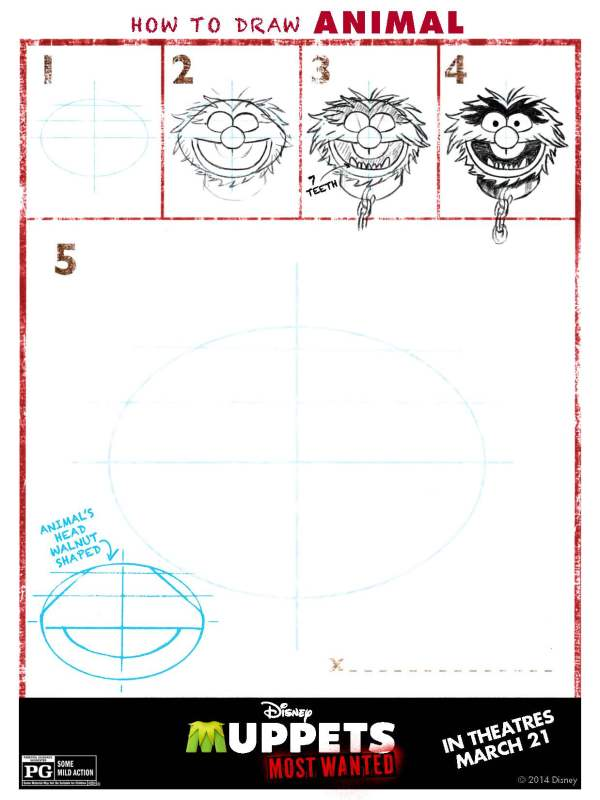 How to draw Animal from the Muppet Babies