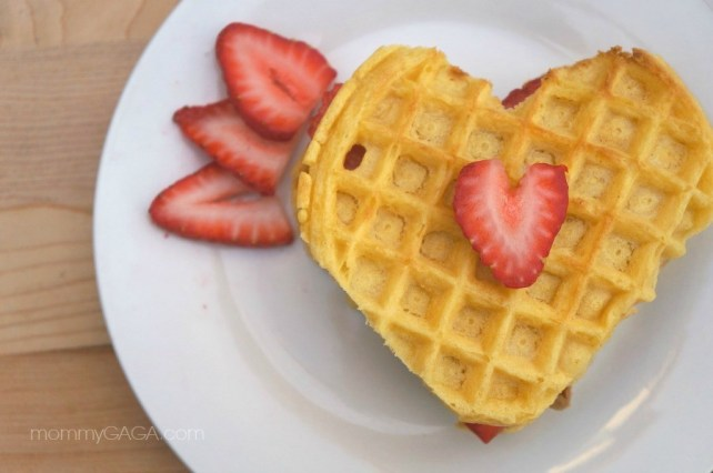 Strawberry Heart-Shaped Waffles - Valentine's Day Breakfast