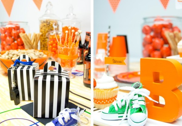 Basketball party theme ideas with orange and black decorations