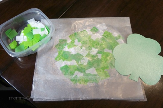 How to make a St Patricks Day stained glass tissue paper shamrock
