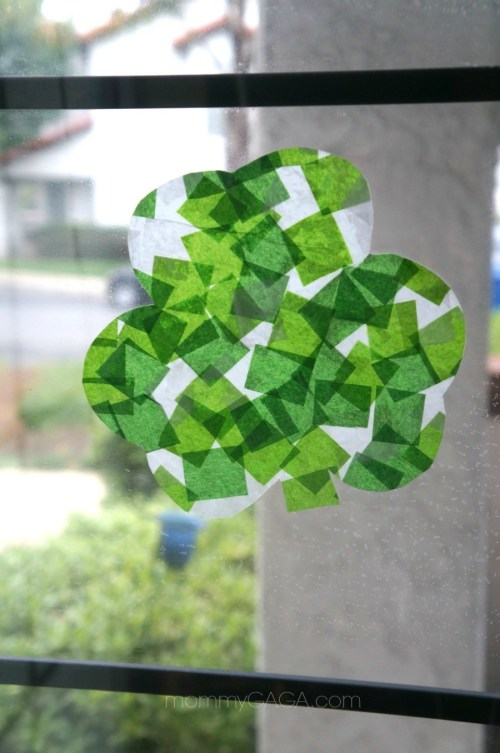 St Patricks Day Craft for Kids, Stained Glass Tissue Paper Shamrocks