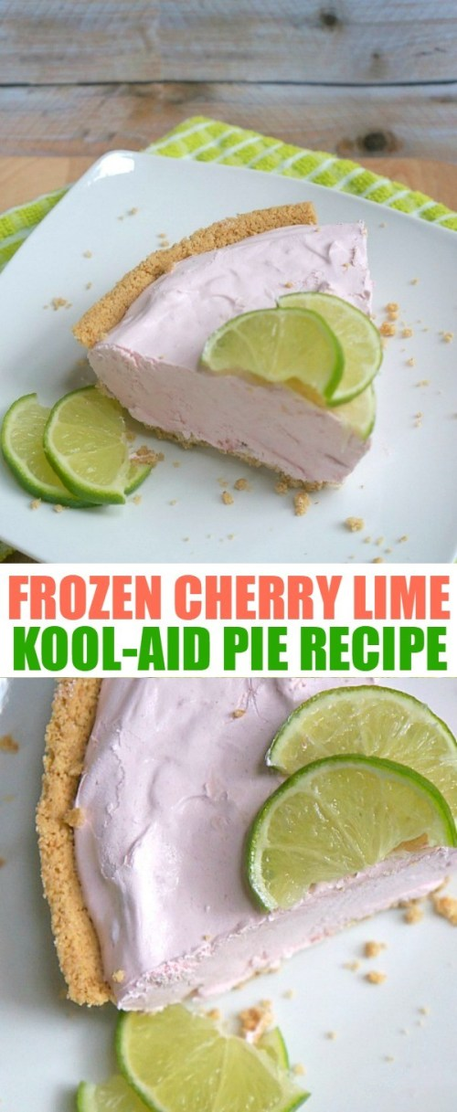 Frozen Lime and Cherry Kool Aid Pie Recipe - this summer dessert is easy to make and a delicious cool treat!