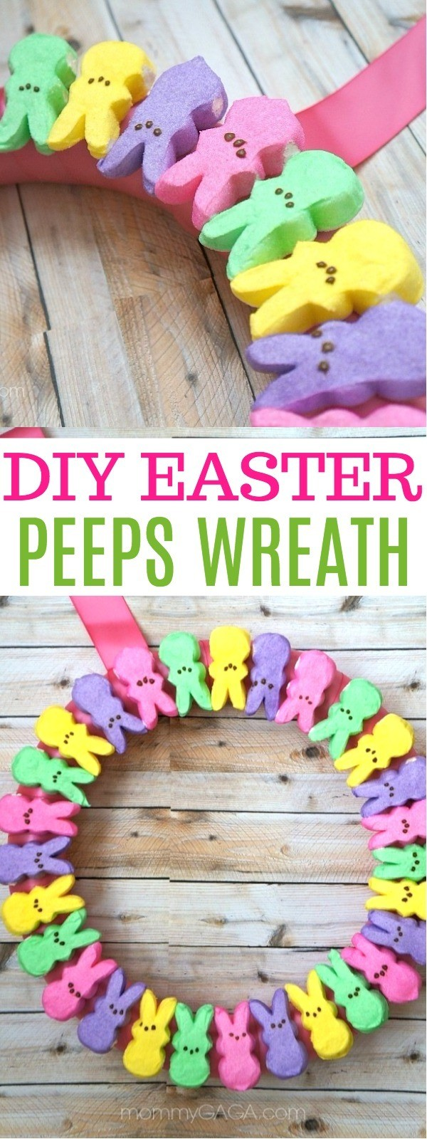 This Easy DIY Easter PEEPS Wreath Is The Cutest Ive Ever Seen! | spring wreaths | diy spring wreath | easter wreaths | spring door wreaths | diy easter wreaths | homemade spring wreath | diy easter decor | honeyandlime.c