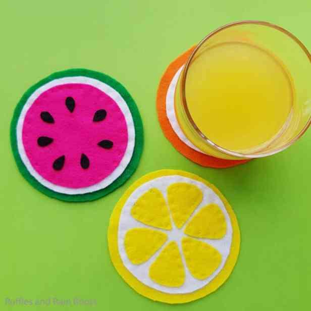 Felt fruit slice coasters summer craft