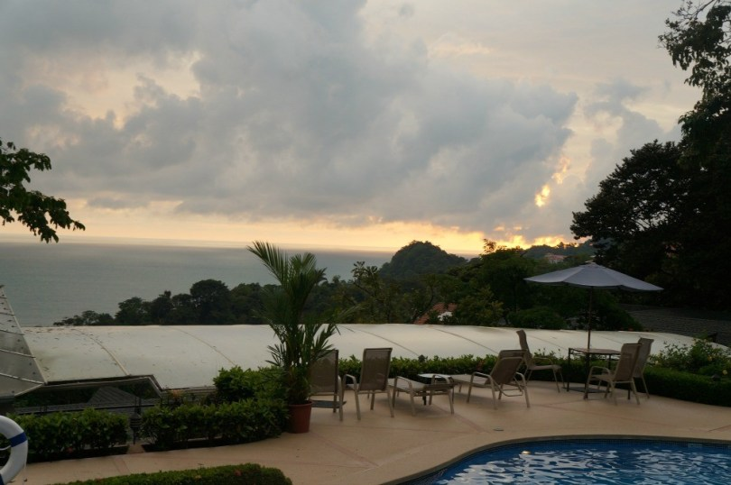An overcast sunset behind the clouds in Manuel Antonio, Costa Rica