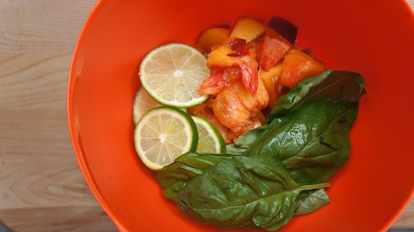 Nectarine recipes - Making nectarine and basil mojitos