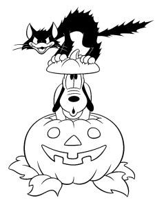 Halloween coloring pages for kids- Disney Pluto coloring pages Halloween free printable