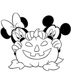 Disney halloween coloring pages for kids, free Printables Mickey-Minnie-Mouse