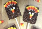 Thanksgiving Turkeys made out of Rice Krispies Treats