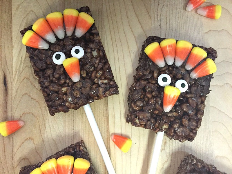Thanksgiving Rice Krispies treat Turkey pops - made out of chocolate Rice Krispies Treats