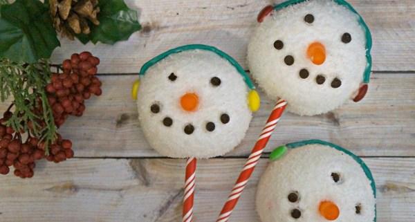 Holiday snowman treats made out of Hostess Sno balls