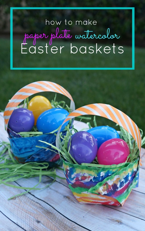 Easter crafts for kids - Make your own paper plate watercolor Easter baskets craft