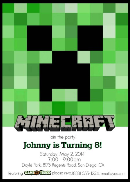 Free Printable Minecraft Party Invitations - Customize Your Own!