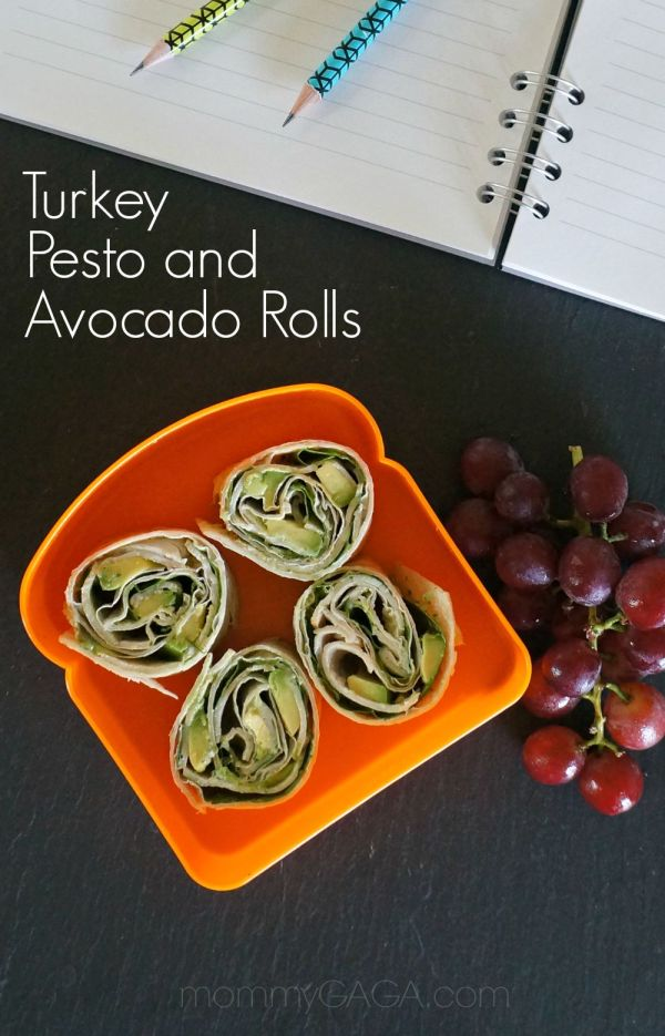 Healthy Turkey Roll Ups with Avocado and Pesto - These turkey pinwheels are the perfect school lunch!
