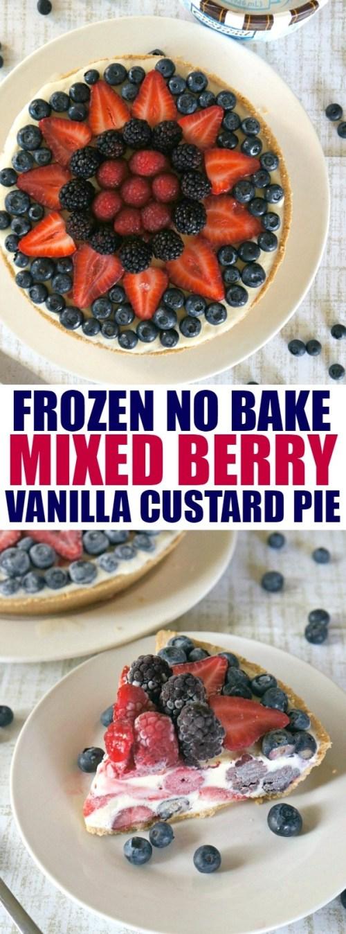Summer Desserts: Easy Frozen Mixed Berry Vanilla Custard Pie Recipe