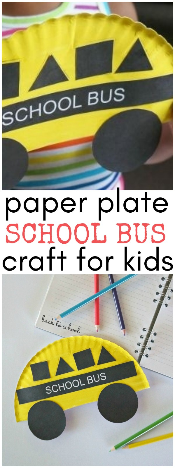 Back to School Crafts for Kids- Paper Plate School Bus Shapes Craft - A fun school bus art project!