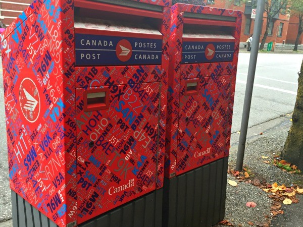 Colorful Canada Post mailboxes in Vancouver