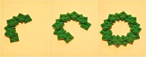 How to make a LEGO wreath photo ornament, connect the LEGO bricks in a circle