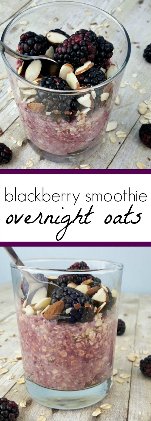 Blackberry Smoothie Overnight Oats, a quick and healthy breakfast recipe