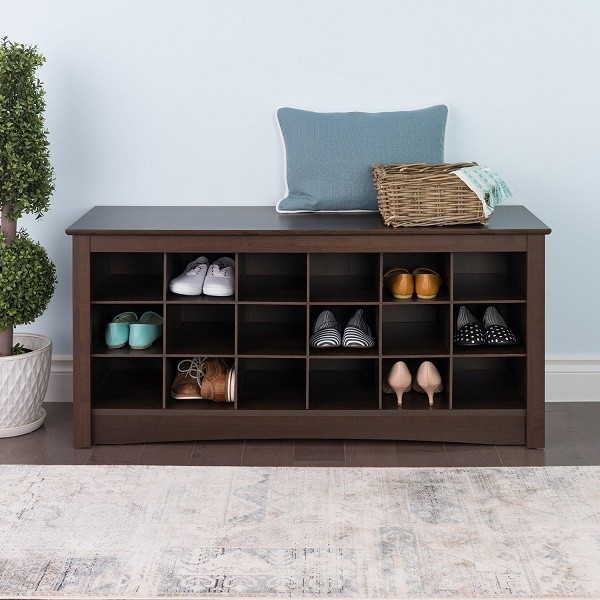 Prepac Espresso shoe storage cubby bench foyer