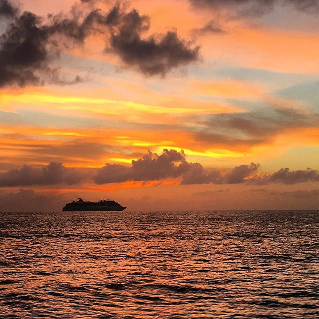 Sunset by catamaran on the Caribbean Sea, Excursions in Cozumel, Mexico