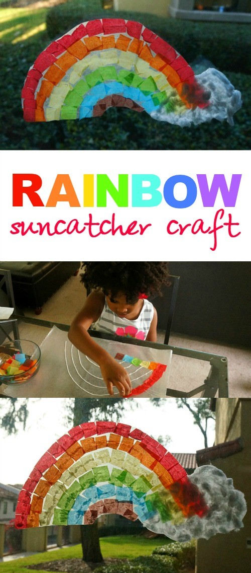 Over the Rainbow suncatcher craft - what a fun spring art project for kids, mine would love making this!