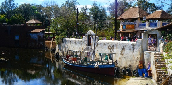 Disney's Animal Kingdom theme park, view of the detailed boat in the water in Africa