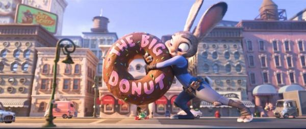 Disney's Zootopia Judy Hopps grabs a giant donut and saves a mouse