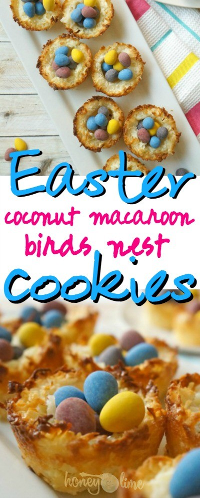 These Easter coconut macaroon birds nest cookies are so cute, what a fun Easter treat! | coconut birds nest recipe | Easter coconut macaroons | coconut nest cookies | how to make coconut bird nest | honeyandlime.co