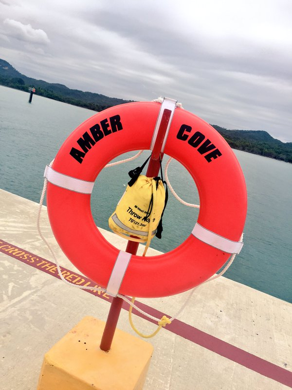 Fathom travel, Amber Cove life raft on the dock