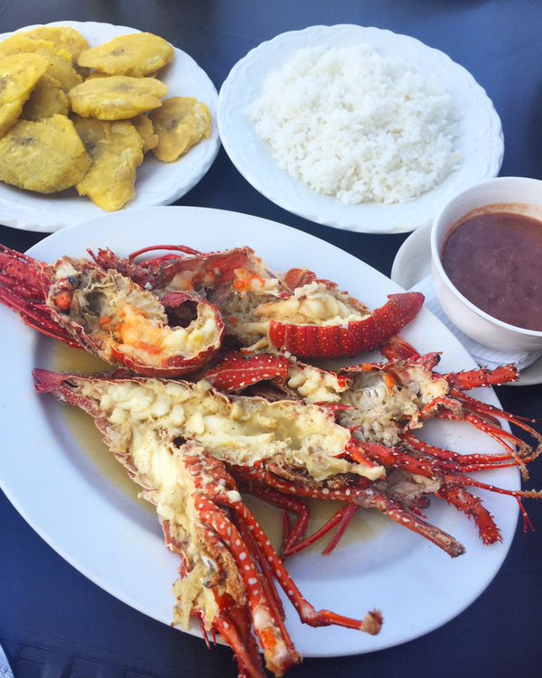 Fathom travel, amazing Dominican meal, baby lobster, rice, beans, plantains