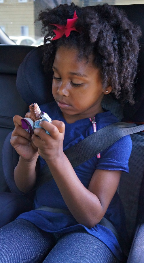 CLIF Kid Zbars fruit and veggie are the perfect snack for kids to take with them in the car