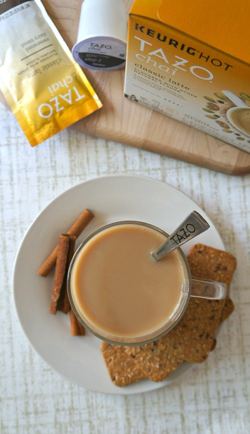 Enjoy Tazo® Chai Tea Classic Latte right in the comfort of your own home with Tazo Chai Kcups