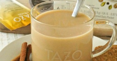 Tazo® Chai Tea Latte recipe can be made in the comfort of your own home. I just love the fact that I can drink the warm taste of cinnamon, cloves, nutmeg and cardamom in a creamy, delicious latte
