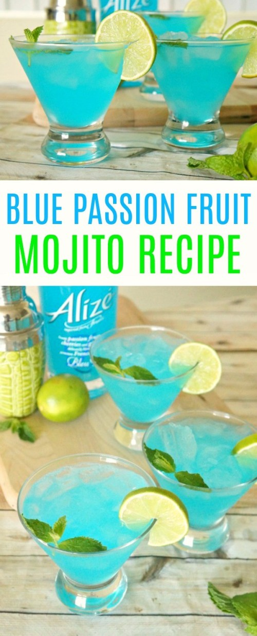 Blue Passion Fruit Mojito Recipe- A Refreshing Summer Cocktail! mojito recipes | blue cocktails | passion fruit recipes